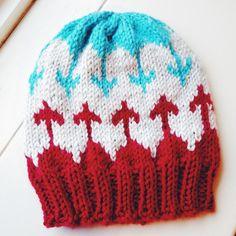 Toddler knit hat, Valentine's knit hat, Child's knit hat, Cupid's arrow knit hat, Red and Aqua knit hat, Big Sis Knit Hat, Big Bro knit hat
