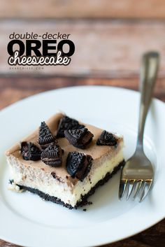 Double-decker OREO Cheesecake - Cool, creamy and delicious. Plus that OREO crust? SO GOOD.