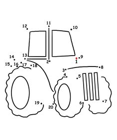 Farm Theme: Connect the Dots Tractor and Song From Kiboomu Worksheets Preschool Connect The Dots Preschool Worksheets, Preschool Activities, Coloring For Kids, Coloring Pages, Tractor Crafts, Dot To Dot Printables, Farm Lessons, Farm Unit, Farm Theme