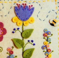 Summer's Garden Pin Cushion Wool Felt Applique