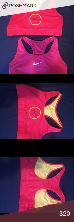 2 Nike Dri Fit Sports Bras Pink and yellow and pink and white Dri fit material. Nike Intimates & Sleepwear Bras