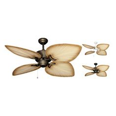 """50 inch Bombay Tropical Ceiling Fan - The 50"""" Bombay model offers the beautiful tropical design in a damp location fan. Oversized ABS, palm shaped blades dominate this fan's appearance. while a tastefully clean-styled high performance motor provides the power. The Bombay is available in Antique Bronze, Weathered Brick, or Pure White."""