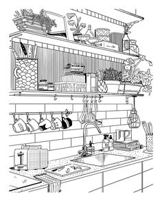 Amber Day's Portfolio - Amber Day - Lifestyle and Fashion illustrator. House Colouring Pages, Cute Coloring Pages, Coloring Sheets, Coloring Books, Amber Day, Interior Design Sketches, Printable Adult Coloring Pages, House Drawing, Colorful Drawings