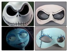 "Here are some ""Nightmare Before Christmas"" themed masks. Super cute Jack and Sally Halloween costume masks. As always, my masks are made from one piece . Nightmare Before Christmas masquerade masks Sally Halloween Costume, Halloween Kostüm, Holidays Halloween, Tim Burton, Adornos Halloween, Halloween Disfraces, Christmas Fonts, Christmas Themes, Christmas Crafts"