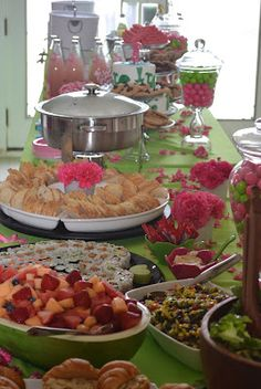 displaying food for a bridal shower