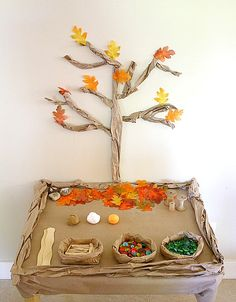 Invitation to Play: Under the Fall Tree~ Buggy and Buddy Here's an easy fall activity for kids to set up in the classroom or right at home- Under the Fall Tree Small World! This fall themed play invitation inspired all kinds of creative play! Autumn Activities For Kids, Fall Preschool, Fall Crafts For Kids, Kids Crafts, Preschool Activities, Nature Activities, Tree Crafts, Halloween Games For Kids, Fall Halloween