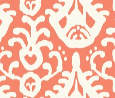 Coral Ikat Fabric by Domesticate