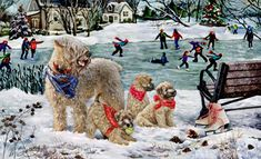 """New for 2016!  Soft Coated Wheaten Terrier Christmas Holiday Cards are 8 1/2"""" x 5 1/2"""" and come in packages of 12 cards. One design per package. All designs include envelopes, your personal message, and choice of greeting.Select the inside greeting of your choice from the menu below.Add your custom personal message to the Comments box during checkout."""