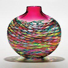 "Cranberry Optic Rib Flat Vase by Michael Trimpol and Monique LaJeunesse (Art Glass Vase) (10.5"" x 10.5"")"