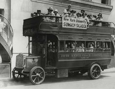 Summer school students being bused from Washington Square to University Heights campus for annual summer school frolic, 1925 #history