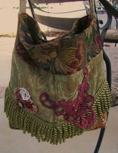 Bohemian Sage Purse thick tapestry fabric ♥ by GrandmaDede on Etsy