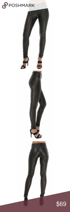 """Biker Chic Black Faux Leather Pants with Zippers Every woman needs a great pair of jeans in her wardrobe and these faux leather black skinny pants tick all the boxes. Figure hugging leather look trousers with diamond stitching to the front. High Quality! Looks like leather! Features a thick waist band with double gold belt detail. Front zipper. No pocket slim fit style. Stretchy 65% cotton 30% polyamide 5% elastane. 8"""" rise. 32"""" inseam. 40"""" full length. Mach wash or dry clean. Crazy Lover…"""