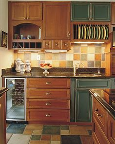 Pantry using mixed cabinetry.