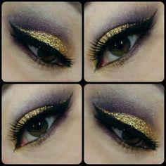 Gold and plum Gold glitter,  plum shades , brown eyes,  eye lashes Make up by Piia Jääskeläinen