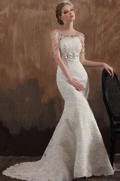 Mermaid Sweetheart Sleeveless Lace Chapel Train Wedding Dress (003107)