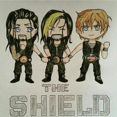 The shield dean Ambrose, Seth Rollins,and Roman reigns