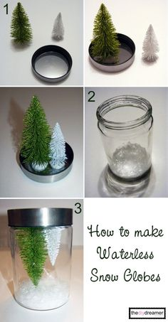 crafty days of christmas) diy snow globes - See Vanessa Craft - DIY Waterless Snow Globes - Snow Globe Crafts, Diy Snow Globe, Christmas Snow Globes, Noel Christmas, Easy Christmas Crafts, Simple Christmas, Christmas Projects, Easter Crafts, Homemade Snow Globes