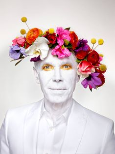 Jeff Koons with Floral Headpiece, New York, NY | From a unique collection of portrait photography at https://www.1stdibs.com/art/photography/portrait-photography/