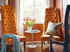 Orange Decor for Living Room . 35 Lovely orange Decor for Living Room . Blue And Orange Living Room, Contemporary Home Offices, Modern Home Furniture, Blue Living Room, Living Room Orange, Living Room Color, Interior, Room Decor, Orange Room Decor