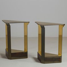 PAIR OF BRASS CONSOLE TABLES BY JOHN SALADINO FOR BAKER 1984
