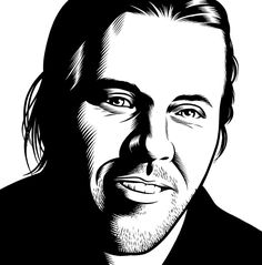 David Foster Wallace by Charles Burns from the Believer Cover Series at adambaumgoldgallery.com