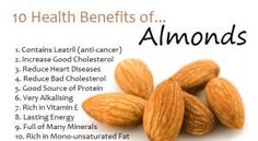 When we talk about health fats almonds are go to go. Almonds contain lots of healthy fats fiber protein magnesium and vitamin E. The health benefits of almonds include lower blood sugar levels reduced blood pressure and lower cholesterol levels. Health Benefits Of Almonds, Almond Benefits, Fruit Benefits, Health Facts, Health And Nutrition, Health And Wellness, Healthy Tips, Healthy Snacks, Healthy Recipes