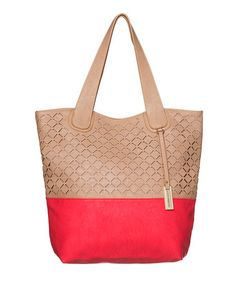 Love this Beige & Coral Coogee Perforated Tote by Urban Originals on #zulily! #zulilyfinds