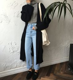 Withyoon: Cardigan + Top + Jeans + Shoes + Bag  Kfashion Korean fashion Ulzzang Aesthetic Fashion
