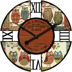 Earth de Fleur Homewares - Colourful Owl Wall Clock