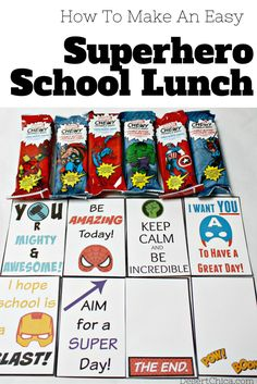 How to make an easy superhero school lunch with printable superhero lunch box notes.  #MARVELSnackBar  #AD