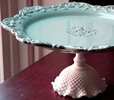 So many potential uses!  A dessert pedestal or cake stand, a table centerpiece (adorned with fruit or flowers), a tray to contain jewelry or cosmetics and fragrances.