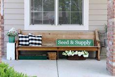 Charming Church Pew Finds Peace on the Porch Summer Front Porches, Summer Porch Decor, Small Front Porches, Front Porch Landscape, Small Porch Decorating, Porch Table, Farmhouse Front Porches, Bench Decor, Porch Makeover