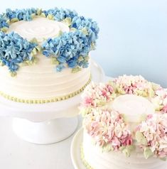 Why Hydrangea Cakes Are Our New Favorite Wedding Desserts - - Just imagine if your something blue was sweet to look at and edible, too. Creative Cake Decorating, Cake Decorating Designs, Cake Decorating Techniques, Creative Cakes, Cake Designs, New Cake Design, Decorating Ideas, Bolo Floral, Floral Cake