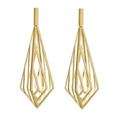 Three Dimensional Gold Prism Cage Earrings | 1stdibs.com