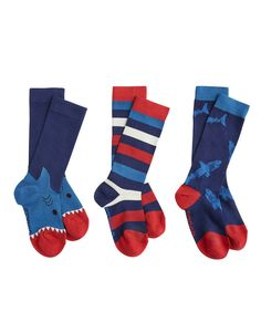 """#Joules """"Bamboo 3er Pack"""" - €17,95 - Wikimo Kindermode, Kinder Socken, blau rot Muster by Tom Joule 