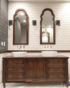 The mirrors, antique dresser, vessel sinks, faucets and sconces all cost less than the price of one double vanity at most big box stores.  We love the eclectic look at all of the different pieces creates, and love the $ savings even more! #thepearlstproject
