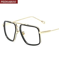 0fe15b8c852 Big Black and gold square frame high quality transparent clear eye glasses