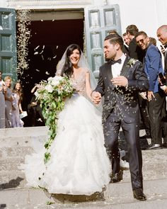 """I wanted everyone to throw pastina as we were coming out of the church,"" says Lisa. ""The wedding planner said we were going to get starch all over the men's suits, but it worked out great. Wedding Exits, Destination Wedding, Wedding Venues, Martha Stewart Weddings, Wedding Weekend, Wedding Hair And Makeup, Italy Wedding, Wedding Details, Real Weddings"