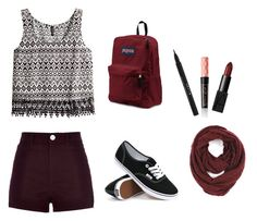 """Maroon Love"" by aggelikipapkon ❤ liked on Polyvore featuring mode, H&M, River Island, Vans, JanSport, NARS Cosmetics, Stila en Paula Bianco"