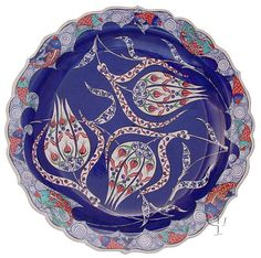 Iznik Design Ceramic Plate Turkish Art, Turkish Tiles, Glazes For Pottery, Pottery Art, Ceramic Plates, Ceramic Art, Turkish Jewelry, Ottoman, Tile Art