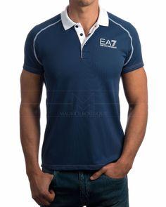 Polo Armani EA7 Ventus - Azul Indigo Camisa Polo, Golf Fashion, Womens Fashion, Polo Shirt Design, Azul Indigo, Royal Look, S Man, Boutique, Emporio Armani