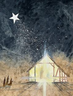 Christmas Painting - The First Christmas by Jackie Mueller-Jones