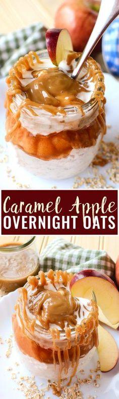 Caramel Apple Overnight Oats - this easy breakfast recipe brings my favorite flavor of apple pie to the no bake + no effort easy of overnight oats.…