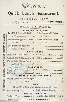 Receipt: The above docket shows a diner's bill from 1906, which appears to have been a group order or an ongoing tab Restaurant Vintage, Restaurant Menu Design, Restaurant Branding, Resturant Menu, Hotel Menu, Restaurant Restaurant, American Restaurant, Vintage Menu, Vintage Recipes