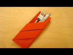 Servietten falten: Bestecktasche falten - Einfache DIY Tischdeko basteln - YouTube