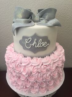 Pink and Gray Baby Shower Cake More