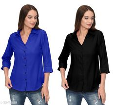 Checkout this latest Shirts Product Name: *Fashionable Contemporary Women's Polyester Solid Women's Shirts(Pack Of 2)* Fabric: Polyester Sleeve Length: Three-Quarter Sleeves Pattern: Solid Multipack: 2 Sizes: S, M, L, XL Country of Origin: India Easy Returns Available In Case Of Any Issue   Catalog Rating: ★3.8 (293)  Catalog Name: Fashionable Contemporary Women's Polyester Solid Women's Shirts Combo CatalogID_446822 C79-SC1022 Code: 405-3240589-1131