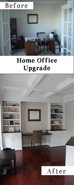 Home Office Remodel #before and #after.  #DIY #House #Home.  See our custom cabinets built from scratch.