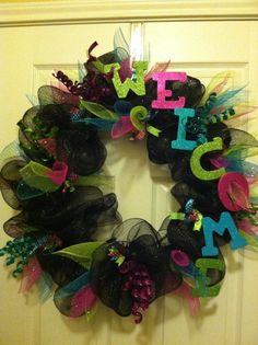 """My """"back to school"""" wire mesh wreath! :)"""