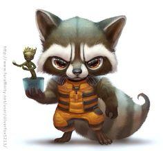 Rocket raccoon and Groot chibi! Art by of Fur Affinity Kawaii Drawings, Disney Drawings, Cute Drawings, Pencil Drawings, Baby Animal Drawings, Rocket Raccoon, Baby Groot, Marvel Art, Marvel Comics